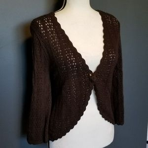Christopher & Banks Sweaters - CHRISTOPHER & BANKS Brown Crocheted Cardigan NWT